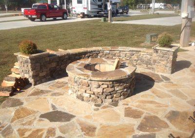 Flagstone - Bucks County Flagstone patio with Thin cut Firepit