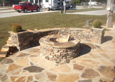 Thin Cut Veneer - Bucks County Flagstone patio with Thin cut Firepit